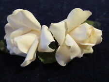 """Vintage Millinery Flower two 2"""" Ivory Rose Cotton Pin for Hat Wedding + Hair Z24"""