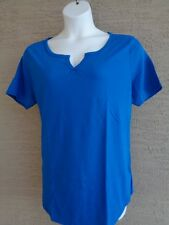 NWT Just  My Size 2X Cotton Blend S/S Split Neck Tee Top Awesome Blue
