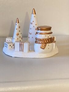 NEW YANKEE CANDLE JACKSON FROST WHITE GOLD SNOWMAN CANDLE TEA-LIGHT HOLDER