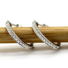 Milgrain Diamond Hoop Earrings 9kt White Gold For Womens Inside Out Hoops