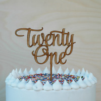 21st Birthday Cake Topper, Wooden Happy Twenty First Cake Decor, Lasercut,Rustic