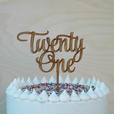 21st Birthday Cake Topper, Wooden Happy Twenty First Cake Decor, Lasercut,Rustic