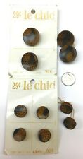 "Lot 10 Vtg Lizard Skin Plastic Buttons Le Chic 5225 2 Sz 7/8"" 5/8"" 50s 60s Japan"