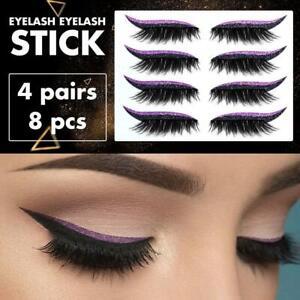 4Pair Reusable Eyeliner Eyelash Sticker False Eyelashes Sequin Eye Shadow A U