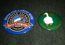Set of 2 Goose Island Brewery, Chicago Illinois Vintage Pinback Buttons