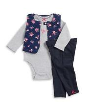 LITTLE ME® Baby Girl 3M Quilted Vest, Bodysuit & Pant Set NWT