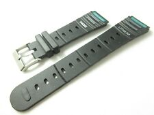 BLACK PLASTIC SPORTS 20MM WATCH STRAP BAND SILVER BUCKLE