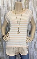 Bordeaux Anthropologie XS Oversized Striped High Low Top Shirt Tunic EUC!