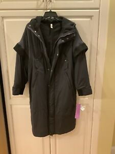 NWT Free People Long Parka Coat Black 3 Layers Outer shell - Quilted - Fleece XS