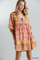 Umgee Blush Mix Paisley Floral Print Bell Sleeve Dress Size Small Medium