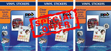 A4 Vinyl Self Adhesive Paper Multipack Gloss/Clear/Matt x 15 Sheets