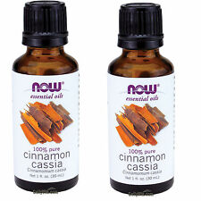2 x NOW 100% Pure Cinnamon Cassia Essential Oil 1 oz 30 ml, FRESH, Made In USA