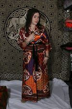 Vtg 60s JC Penny Open Long Dress Maxi Caftan Orange Brown Quilted Hippie M