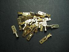 100x 6.3mm Crimp Terminal Male Spade Connector blade Contact pin Gold Color