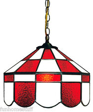 RED & WHITE 14 INCH STAINED GLASS EXECUTIVE HOME BAR HANGING LAMP LIGHT FIXTURE