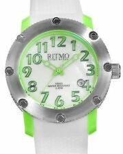 RITMO MVNDO Unisex Mother/Pearl Watch 242 Green Date swiss movement rubber band