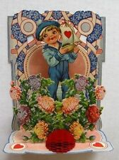 1910-20 Pull Down Dimentional Valentine's Day Card w/ Sailor and Flowers