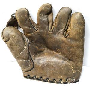 Vtg 1930s Split Finger Baseball Glove Mitt Professional Model Unknown