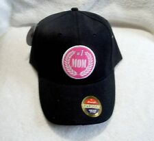 Mom #1, Black and Pink, Polyester Ball Cap
