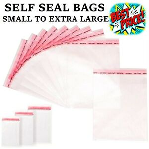 CLEAR CELLOPHANE BAGS SMALL LARGE SELF SEAL CELLO GIFT WAX SWEET PARTY FOR CARDS
