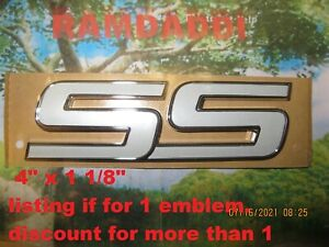 """1x OEM NEW Front Door SS Emblem Badge White On Chrome 06-10 GM Chevy 4"""" x 1 1/8"""""""