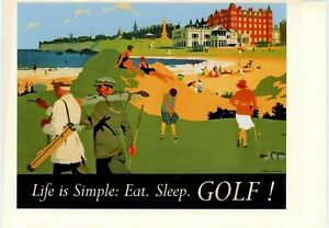 'Eat,Sleep,GOLF'. Hand made greeting card. Blank inside for all occasions.
