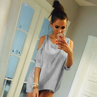 Women's Cold Shoulder Loose T-Shirt Blouse Summer Long Plus Size Shirts Tee Tops
