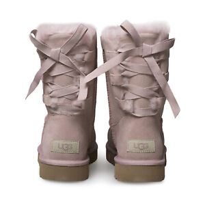 UGG SHORT CONTINUITY BOW PINK CRYSTAL SUEDE SHEEPSKIN WOMEN'S BOOTS SIZE US 7