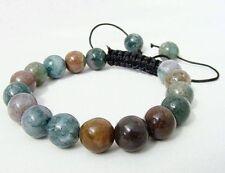 Men's Shambhala bracelet all 10mm Natural Multicolor Indian Agate Gems Beads