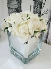 White Roses in Mirror Cube Artificial Plant (Home Decor)