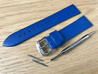 For SEIKO Watch Blue Genuine Leather Strap Band Buckle Clasp Mens Ladies