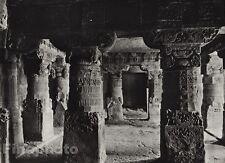 1928 Vintage INDIA Aurangabad Cave Hall Interior Architecture Photo By HURLIMANN