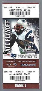 TOM BRADY 2012-13 NFL DIVISIONAL PLAYOFF TEXANS @ PATRIOTS FULL FOOTBALL TICKET
