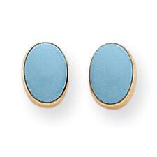14K Yellow Gold Blue Turquoise Bezel Oval Stud Earrings Madi K Childrens Jewelry