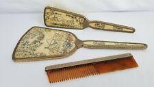 Antique English Embroidered Needlepoint Vanity Set Brush Mirror Comb