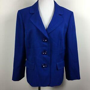 Evan Picone Size 16 Blazer Jacket Blue Three Button Flap Pocket Lined