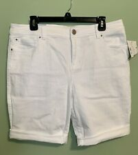 NWT $59 INC International Concepts White Stretch Denim Bermuda Shorts 14 Reg Fit