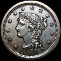 1850 Braided Hair Large Cent Penny  ---- GEM BU+ STUNNING ---- #G830