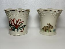 1 Lenox Winter Greetings Pierced Votive Candle Holder & 1 Easter Bunny Candy