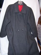 Vintage Wool Womens Coat Lined Button Up Gray Made in Usa Pleated Shoulder