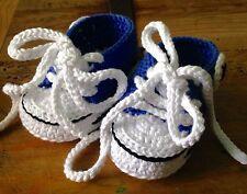 Recién Nacido Zapatillas Deportivas Bebe Azul Blanca 3/6 Crochet Patuco Zapato.