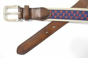 CLUB ROOM LOBSTER PRINT RED 34 FAUX LEATHER WOVEN BELT MENS NWT NEW