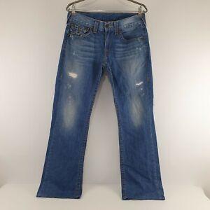 True Religion USA Jeans Bootcut Distressed Sz Tag 32 Mens W34 JE328