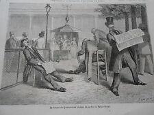 Gravure 1864 - La Lecture des journeaux au Kiosque du jardin du palais royal