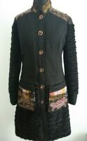 Save The Queen Quirky Black Coat Print Clash Steampunk Size XL Wool blend Italy