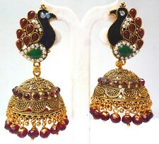 ANtique Gold Palted Peacock Shape Multi Stone pearl 6 cm Big Jhumka Earrings a