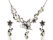 Periodot Silver Grey Tone Butterfly Nature Gunmetal Esque Necklace Earring Set