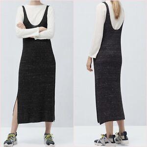 SALE Dark Grey Cable Knit Midi Strappy Dress S M L UK 8 10 12 US 4 6 8 Blogger ❤