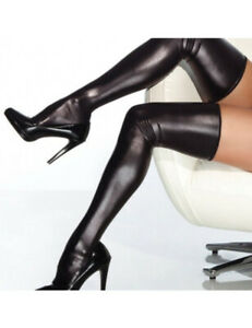 Erotic Black Wet Look Stretch Stockings with G-String One Size 8-12