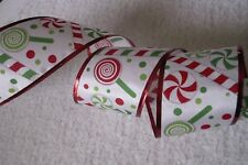 Christmas Ribbon, Peppermint Candy & Lollipops,2 1/2 In Wide,Wired Edge, 4 YARDS